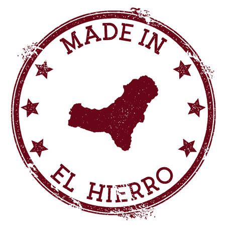 Made in El Hierro stamp. Grunge rubber stamp with Made in El Hierro text and island map. Immaculate vector illustration.