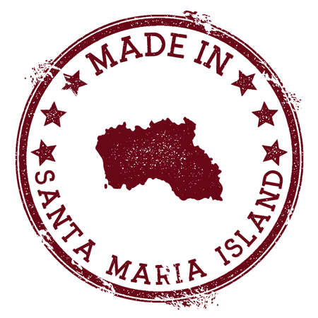 Made in Santa Maria Island stamp. Grunge rubber stamp with Made in Santa Maria Island text and island map. Enchanting vector illustration. 矢量图像