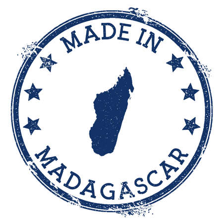 Made in Madagascar stamp. Grunge rubber stamp with Made in Madagascar text and country map. Memorable vector illustration.