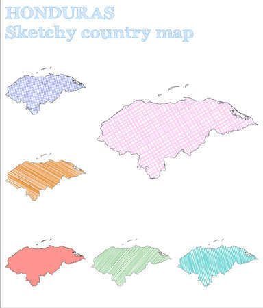 Honduras sketchy country. Impressive hand drawn country. Incredible childish style Honduras vector illustration.