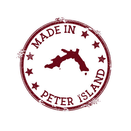 Made in Peter Island stamp. Grunge rubber stamp with Made in Peter Island text and island map. Wonderful vector illustration.