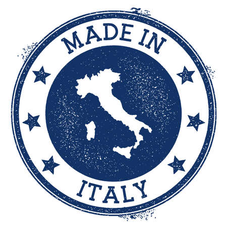 Made in Italy stamp. Grunge rubber stamp with Made in Italy text and country map. Divine vector illustration.