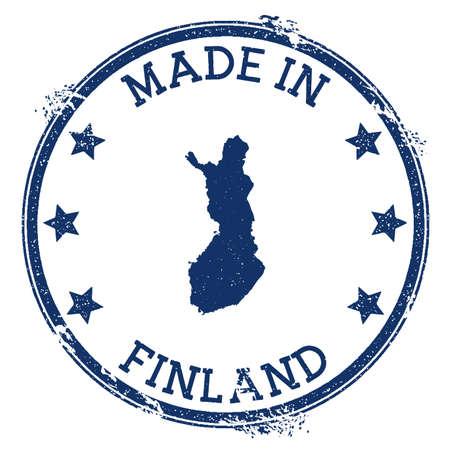 Hergestellt in Finnland-Stempel. Grunge-Stempel mit Made in Finland-Text und Landkarte. Anschauliche Vektorillustration.
