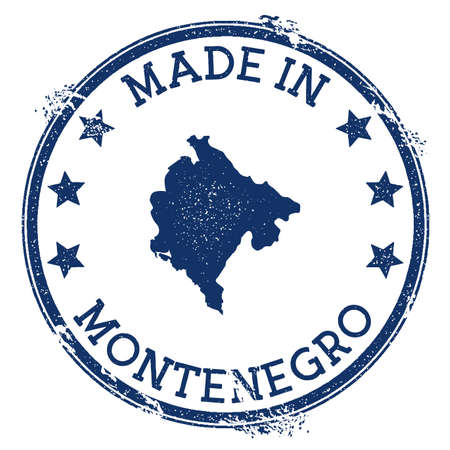 Made in Montenegro stamp. Grunge rubber stamp with Made in Montenegro text and country map. Overwhelming vector illustration.