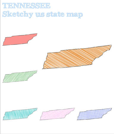 Tennessee sketchy us state. Mesmeric hand drawn us state. Ravishing childish style Tennessee vector illustration.