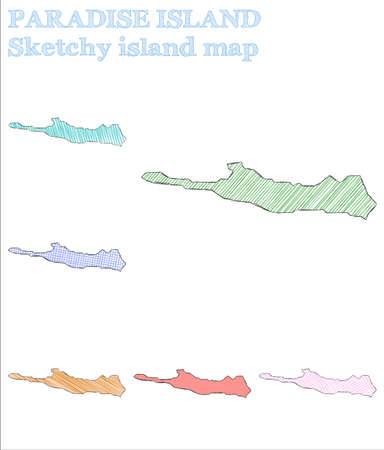Paradise Island sketchy island. Excellent hand drawn island. Exquisite childish style Paradise Island vector illustration. Illustration