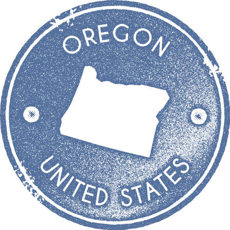 Oregon map vintage stamp. Retro style handmade label, badge or element for travel souvenirs. Light blue rubber stamp with us state map silhouette. Vector illustration.