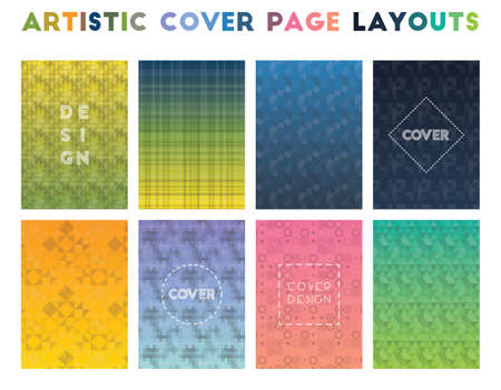 Artistic Cover Page Layouts. Alluring geometric patterns. Mind-blowing background. Vector illustration. Illusztráció