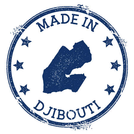 Made in Djibouti stamp. Grunge rubber stamp with Made in Djibouti text and country map. Optimal vector illustration.