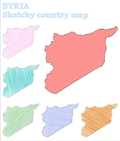 Syria sketchy country. Cool hand drawn country. Curious childish style Syria vector illustration.
