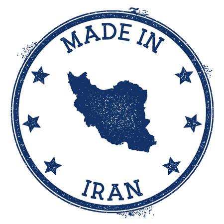 Made in Iran stamp. Grunge rubber stamp with Made in Iran text and country map. Creative vector illustration. 向量圖像