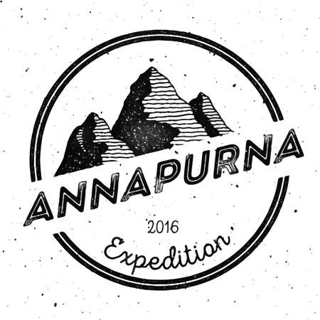 Mountain Annapurna outdoor adventure insignia. Climbing, trekking, hiking, mountaineering and other extreme activities template. Bewitching watercolor vector illustration.