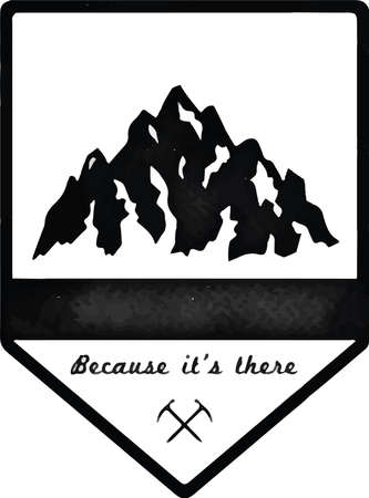 Mountain Everest outdoor adventure insignia. Climbing, trekking, hiking, mountaineering and other extreme activities template. Fresh watercolor vector illustration. Vecteurs
