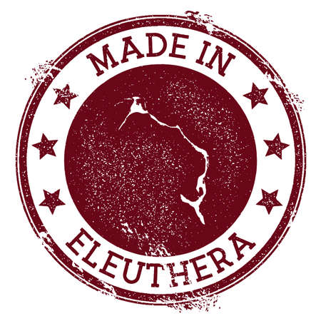 Made in Eleuthera stamp. Grunge rubber stamp with Made in Eleuthera text and island map. Great vector illustration.
