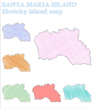 Santa Maria Island sketchy island. Incredible hand drawn island. Juicy childish style Santa Maria Island vector illustration. 矢量图像