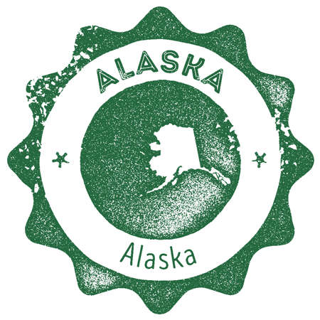 Alaska map vintage stamp. Retro style handmade label, badge or element for travel souvenirs. Dark green rubber stamp with us state map silhouette. Vector illustration.
