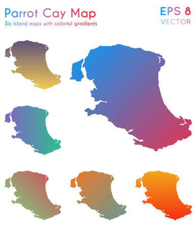 Map of Parrot Cay with beautiful gradients. Attractive set of Parrot Cay maps. Positive vector illustration.