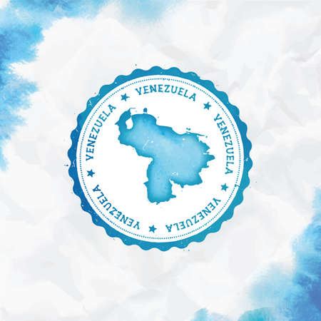 Venezuela, Bolivarian Republic of watercolor round rubber stamp with country map. Turquoise Venezuela, Bolivarian Republic of passport stamp with circular text and stars, vector illustration.