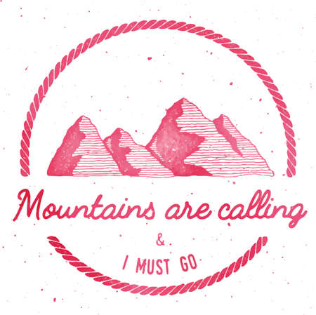 Mountain adventure and expedition insignia badge collection. Outdoor expedition. Climbing stamped t-shirt print. Exotic watercolor vector illustration. 矢量图像