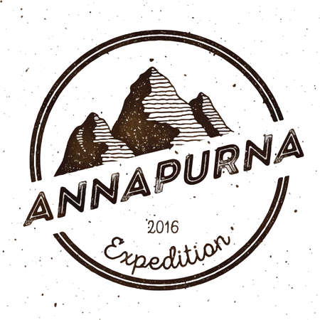 Mountain Annapurna outdoor adventure insignia. Climbing, trekking, hiking, mountaineering and other extreme activities template. Breathtaking watercolor vector illustration.  イラスト・ベクター素材