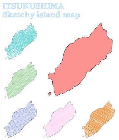 Itsukushima sketchy island. Stunning hand drawn island. Sublime childish style Itsukushima vector illustration.