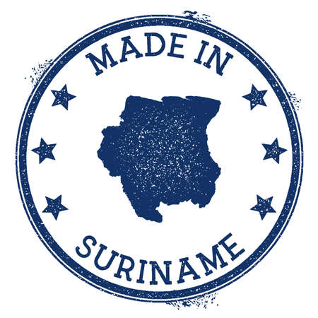 Made in Suriname stamp. Grunge rubber stamp with Made in Suriname text and country map. Fabulous vector illustration.