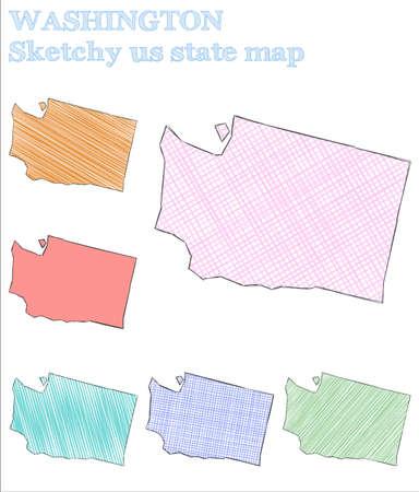 Washington sketchy us state. Noteworthy hand drawn us state. Splendid childish style Washington vector illustration.