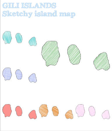 Gili Islands sketchy island. Optimal hand drawn island. Outstanding childish style Gili Islands vector illustration.