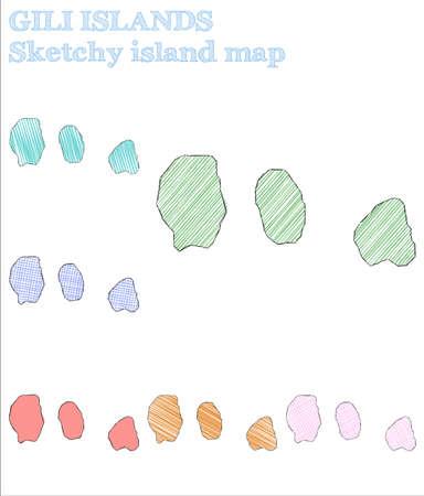 Gili Islands sketchy island. Optimal hand drawn island. Outstanding childish style Gili Islands vector illustration. Illustration