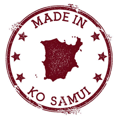 Made in Ko Samui stamp. Grunge rubber stamp with Made in Ko Samui text and island map. Creative vector illustration. Vectores