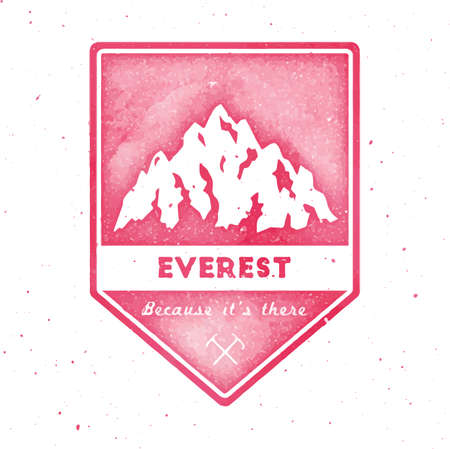 Mountain Everest outdoor adventure insignia. Climbing, trekking, hiking, mountaineering and other extreme activities  template. Gorgeous watercolor vector illustration. 矢量图像
