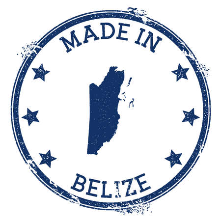 Made in Belize stamp. Grunge rubber stamp with Made in Belize text and country map. Excellent vector illustration.