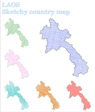 Laos sketchy country. Overwhelming hand drawn country. Perfect childish style Laos vector illustration.
