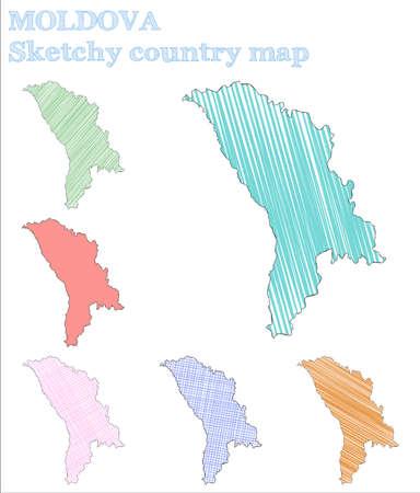 Moldova sketchy country. Quaint hand drawn country. Radiant childish style Moldova vector illustration.