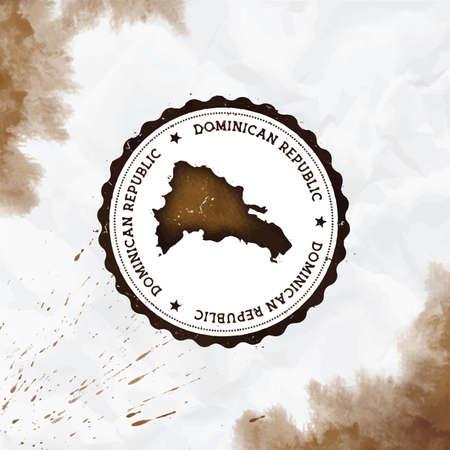 Dominikanische Republik Aquarell runder Stempel mit Landkarte. Sepia Dominikanische Republik Passstempel mit kreisförmigem Text und Sternen, Vektorillustration.