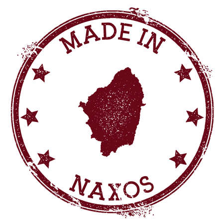 Made in Naxos stamp. Grunge rubber stamp with Made in Naxos text and island map. Popular vector illustration. Illustration