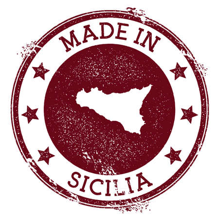 Made in Sicilia stamp. Grunge rubber stamp with Made in Sicilia text and island map. Fresh vector illustration.