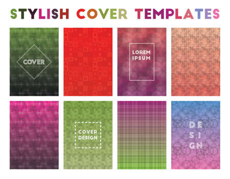 Stylish Cover Templates. Alluring geometric patterns. Lively background. Vector illustration.