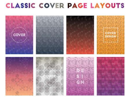 Classic Cover Page Layouts. Alluring geometric patterns. Eminent background. Vector illustration. Illusztráció