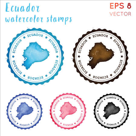 Ecuador stamp. Watercolor country stamp with map. Vector illustration.