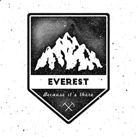 Mountain Everest outdoor adventure insignia. Climbing, trekking, hiking, mountaineering and other extreme activities template. Glamorous watercolor vector illustration.
