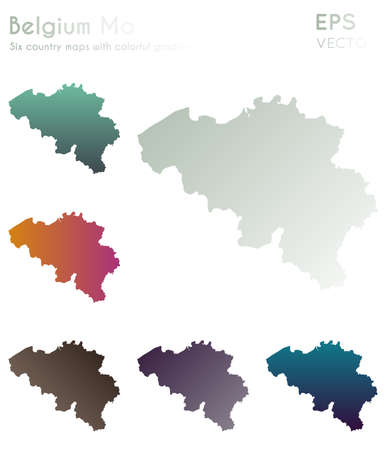 Map of Belgium with beautiful gradients. Actual set of Belgium maps. Original vector illustration.
