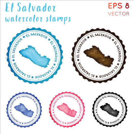 Republic of El Salvador stamp. Watercolor country stamp with map. Vector illustration. Illustration
