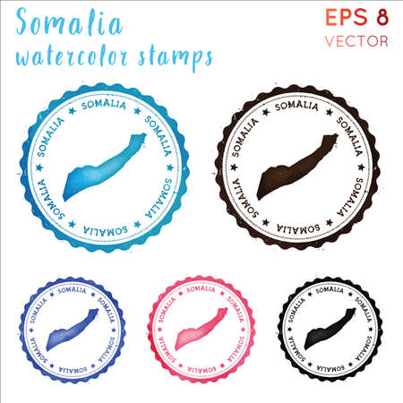 Somalia stamp. Watercolor country stamp with map. Vector illustration.