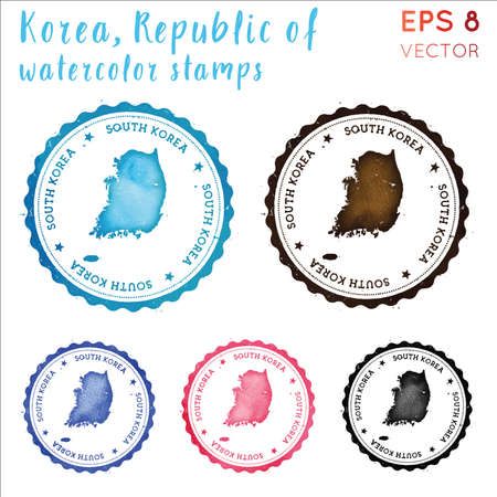 South Korea stamp. Watercolor country stamp with map. Vector illustration.