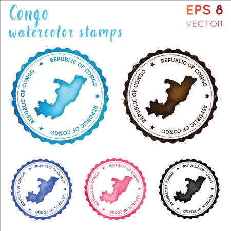 Congo stamp. Watercolor country stamp with map. Vector illustration.