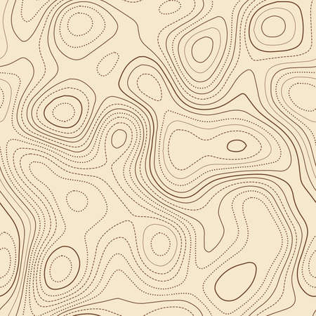 Contour lines. Actual topographic map. Seamless design, symmetrical tileable isolines pattern. Vector illustration.