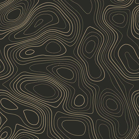 Amazing topography. Actual topography map. Seamless design. Trending tileable isolines pattern, vector illustration.