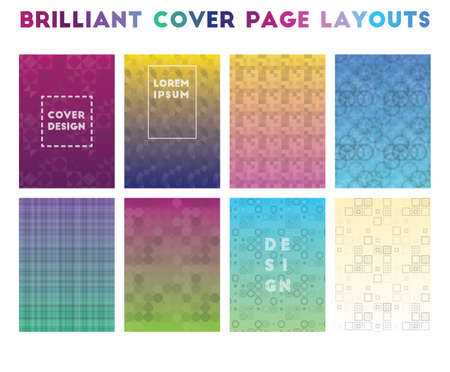 Brilliant Cover Page Layouts. Alluring geometric patterns. Attractive background. Vector illustration.