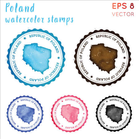 Poland stamp. Watercolor country stamp with map. Vector illustration.
